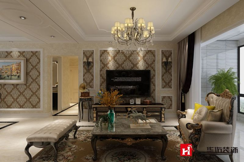 kaide世家领阅三室两厅简欧风格装修方案