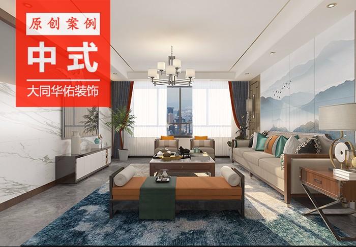 花鹿湾139平方三shi两ting新中式风ge装修效果图
